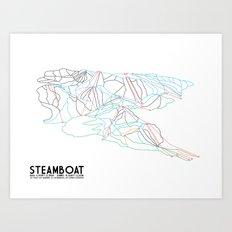 Steamboat, CO - Minimalist Trail Maps Art Print
