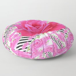 MODERN ABSTRACT CERISE PINK ROSE GARDEN  ART Floor Pillow