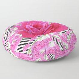 MODERN ABSTRACT CERISE PINK ROSE GARDEN  ART Floor Pillow