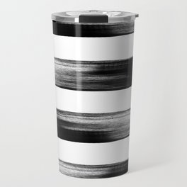 Japanese calligraphy stroke stripe -Zen style, black and white Travel Mug