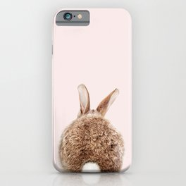 Brown Baby Rabbit Tail With Pink Background, Baby Animals Art Print By Synplus iPhone Case