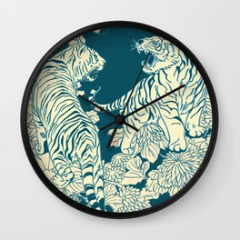 floral tigers Wall Clock