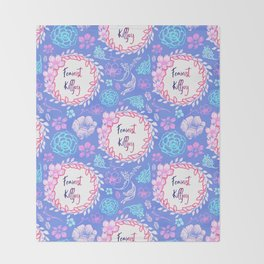 Feminist Killjoy - Beautiful Floral Print Throw Blanket