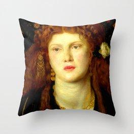 "Dante Gabriel Rossetti ""Bocca Baciata"" Throw Pillow"