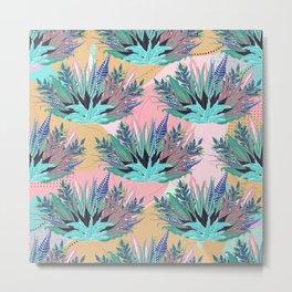 Tropical Mint Foliage Modern Pink Design Metal Print