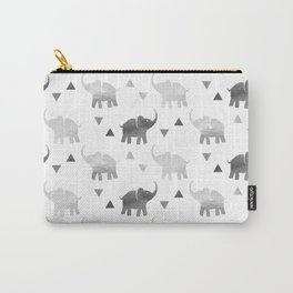Elephants and Triangles - Silver Carry-All Pouch