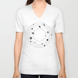 Geometric mandala art, black and white graphic art Unisex V-Neck