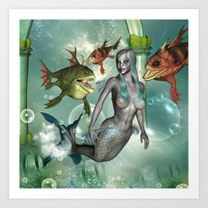 Wonderful dark mermaid  Art Print