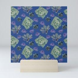 Blue succulents Mini Art Print