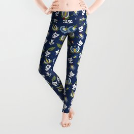 Cat with Ethnic Folk Flower Leggings