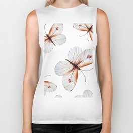 Watercolors butterflies pattern Biker Tank