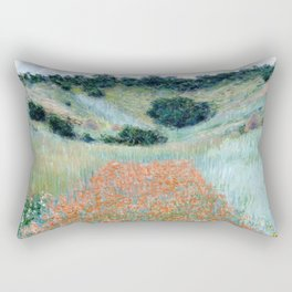 Poppy Field in a Hollow near Giverny by Claude Monet 1885 Rectangular Pillow