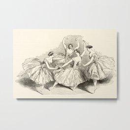 1845 Wood Engraving Print of Female Ballet Dancers Metal Print