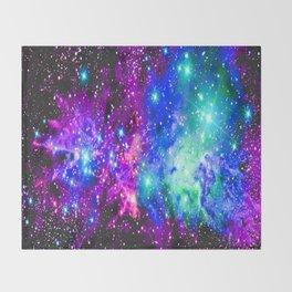 Fox Fur Nebula Galaxy Pink Purple Blue Throw Blanket