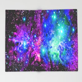 Fox Fur Nebula Galaxy Pink Purple Blue Throw Blanket