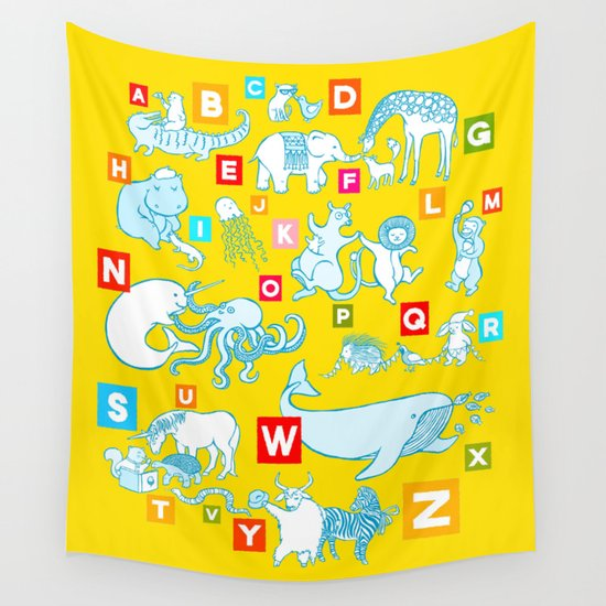 Yellow Alphabet Wall Tapestry