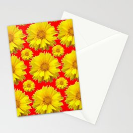 """YELLOW COREOPSIS """"TICK SEED"""" FLOWERS RED PATTERN Stationery Cards"""
