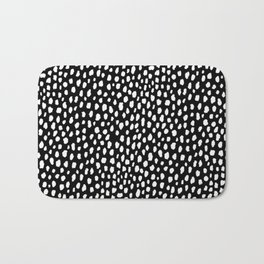Handmade polka dot brush strokes (black and white reverse dalmatian) Bath Mat