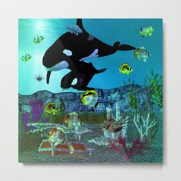 Exploration 3D Aquarium ORCA Metal Print