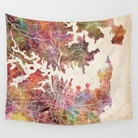 sydney Wall Tapestries featuring Sydney by MapMapMaps.Watercolors