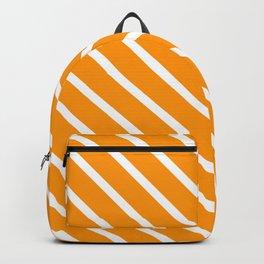 Neon Orange Diagonal Stripes Backpack
