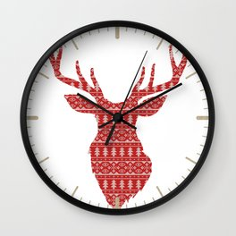Christmas Jumper Red and White Pattern Wall Clock