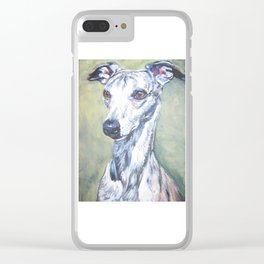 Whippet dog portrait art from an original painting by L.A.Shepard Clear iPhone Case