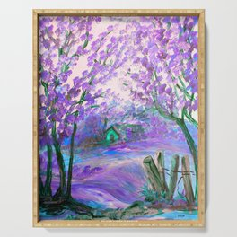 Purple Abstract Landscape with Trees Serving Tray