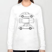 blueprint Long Sleeve T-shirts featuring VW Beetle Blueprint by Barbo's Art