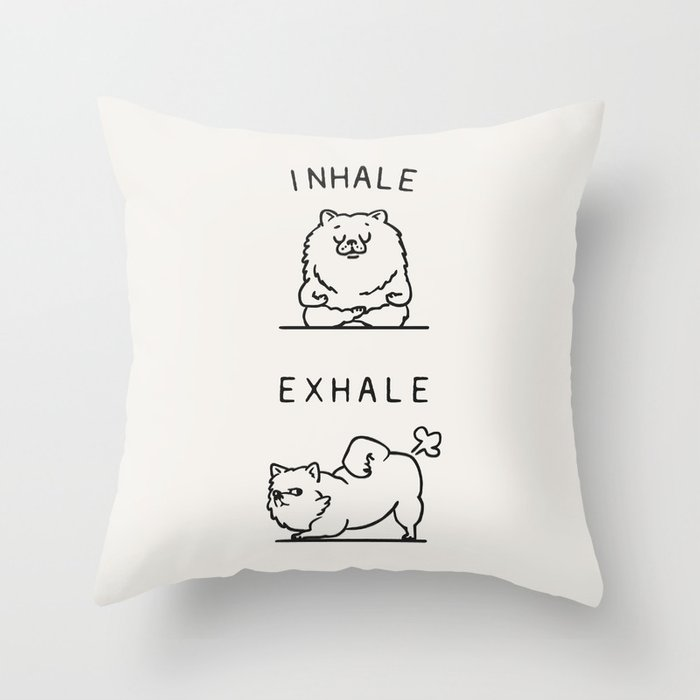 Inhale Exhale Pomeranian Deko-Kissen