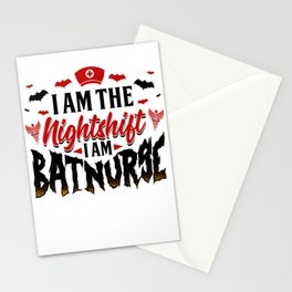 Bat Halloween for Nightshift Nurse aka Batnurse Light Stationery Cards