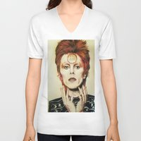 david bowie V-neck T-shirts featuring Bowie by Taylor Bellah