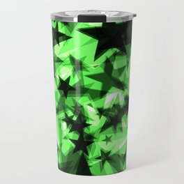 Dark green space stars with glow in the distance from the foil in perspective. Travel Mug