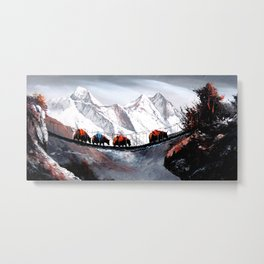 Herd Of Mountain Yaks Himalaya Metal Print