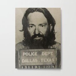 Nelson Willie Mugshot Metal Print
