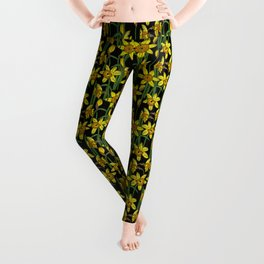 Spring Daffodils Floral Pattern Leggings