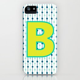 Letter B Monogram Blue, Green and Yellow with Pattern iPhone Case