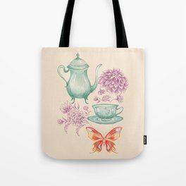 Tea with Butterfly Tote Bag