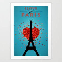 I Love You Paris Art Print
