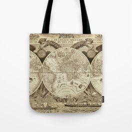Antique world map with sail ships, sepia Tote Bag