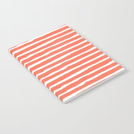 Thin Stripes White on Deep Coral Notebook