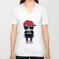 hiphop V-neck T-shirts featuring 30Billion - Hiphop Bear 01 by 30Billion
