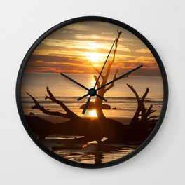 Driftwood Sunrise Wall Clock
