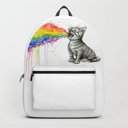 Kitten Puking Rainbow Cat Rainbow Vomit Backpack