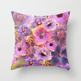 Tropical hibiscus patterns Flower Floral Flowers Throw Pillow