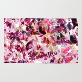 Abstract tropical print with painted by spots orchids Rug