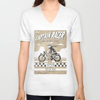 cafe racer V-neck T-shirts featuring CAPTIAN RACER by Morselli Mattia