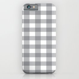 Gray and White Buffalo Plaid Pattern iPhone Case
