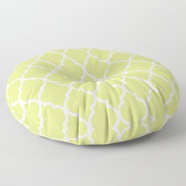 Classic Quatrefoil Lattice Pattern 731 Chartreuse Green Floor Pillow