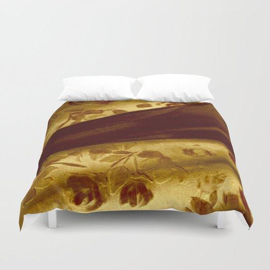 golden drape with marsala flowers Duvet Cover